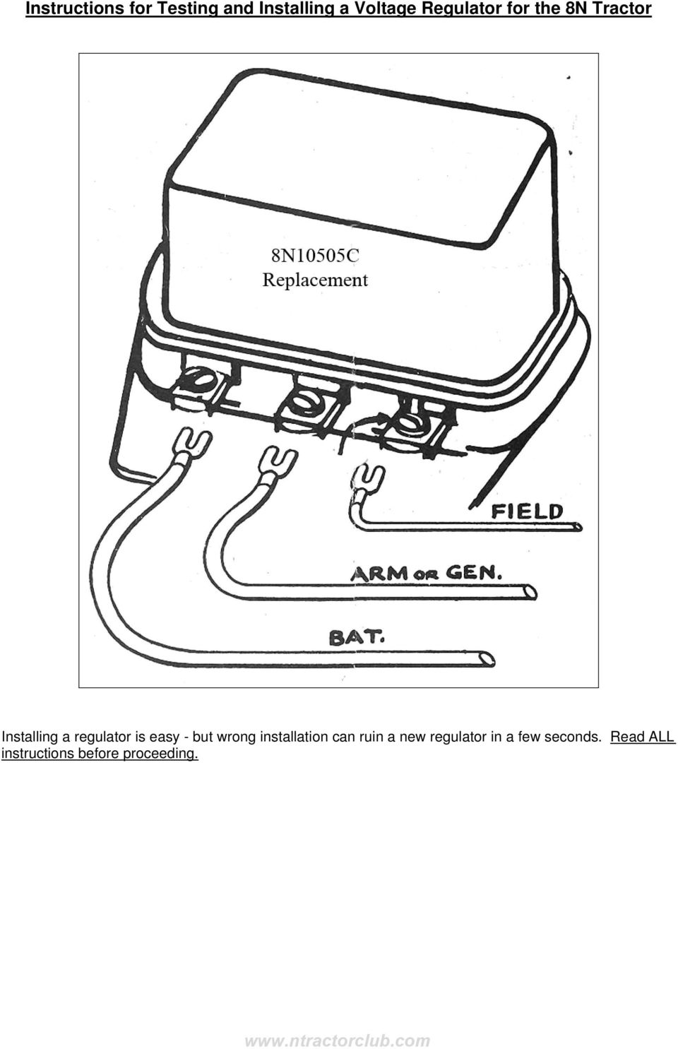 Instructions for Testing and Installing a Voltage Regulator for the