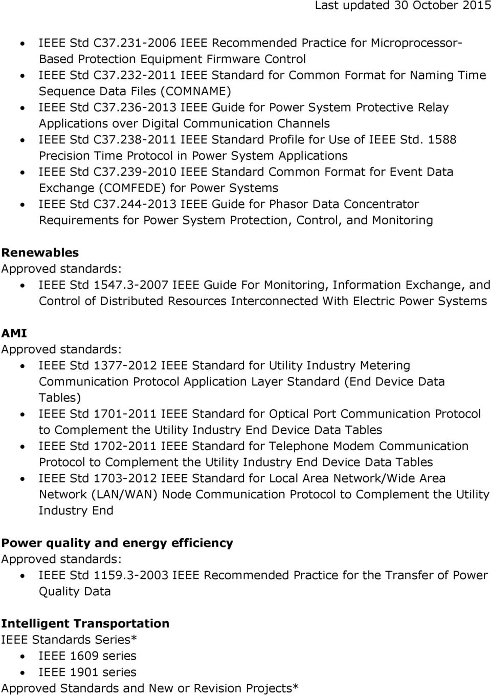 236-2013 IEEE Guide for Power System Protective Relay Applications over Digital Communication Channels IEEE Std C37.238-2011 IEEE Standard Profile for Use of IEEE Std.