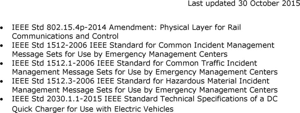 Sets for Use by Emergency Management Centers IEEE Std 1512.