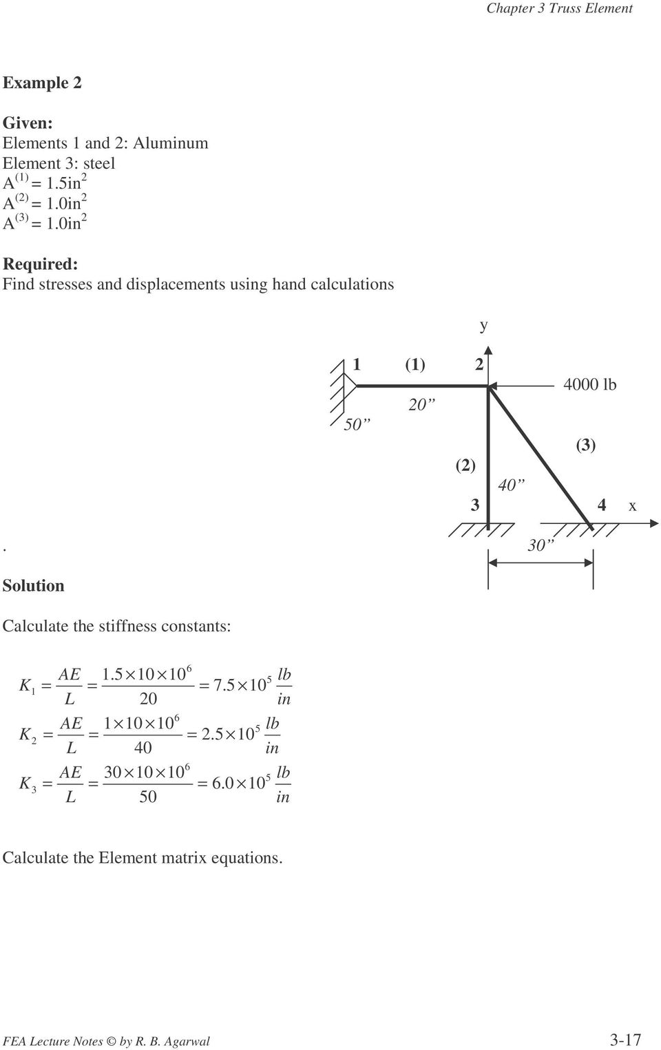 30 Solution Calculate the stiffness constants: K K K 1 2 3 6 AE 1.5 10 10 5 lb = = = 7.