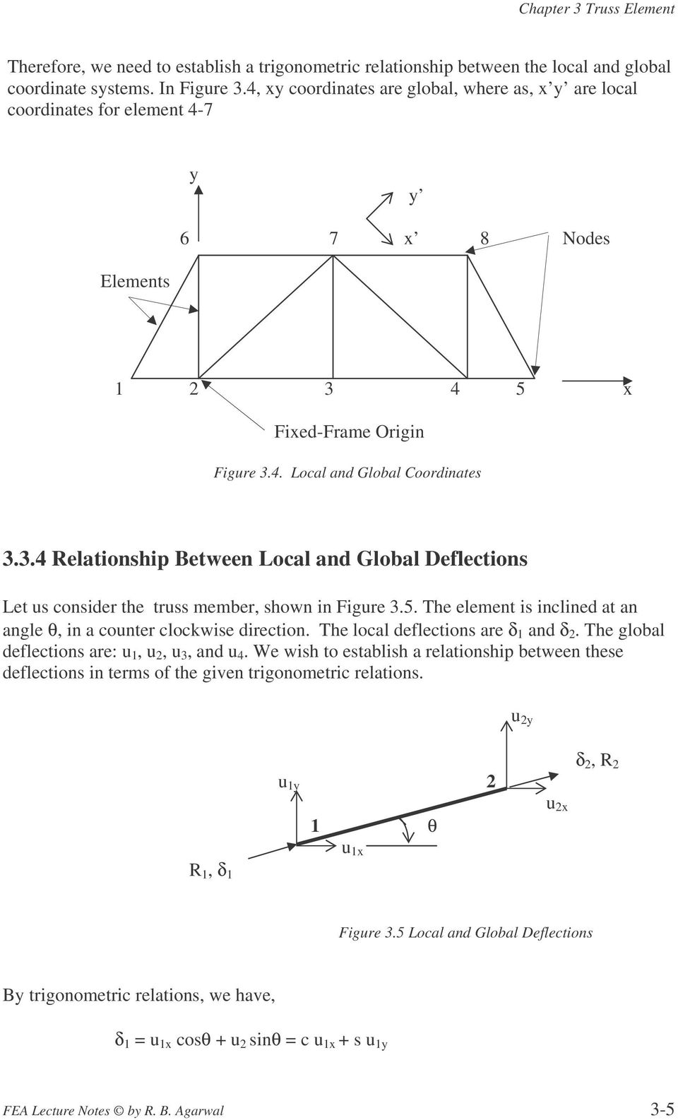 4 5 x Fixed-Frame Origin Figure 3.4. Local and Global Coordinates 3.3.4 Relationship Between Local and Global Deflections Let us consider the truss member, shown in Figure 3.5. The element is inclined at an angle θ, in a counter clockwise direction.