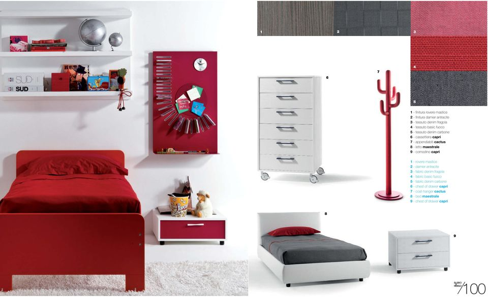 comodino capri 1 - rovere mastice 2 - damier antracite 3 - fabric denim fragola 4 - fabric basic fuoco 5 -
