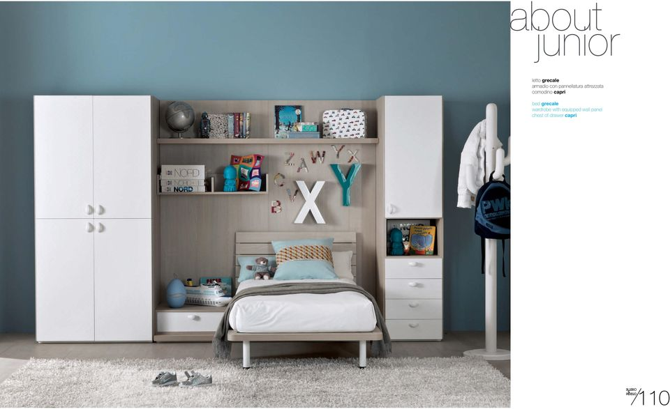 capri bed grecale wardrobe with