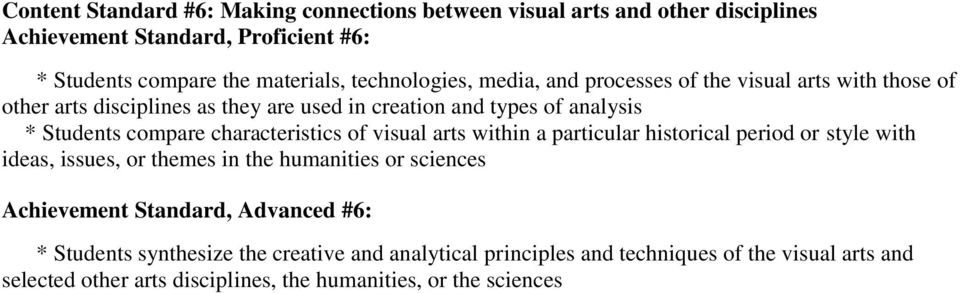 characteristics of visual arts within a particular historical period or style with ideas, issues, or themes in the humanities or sciences Achievement Standard,
