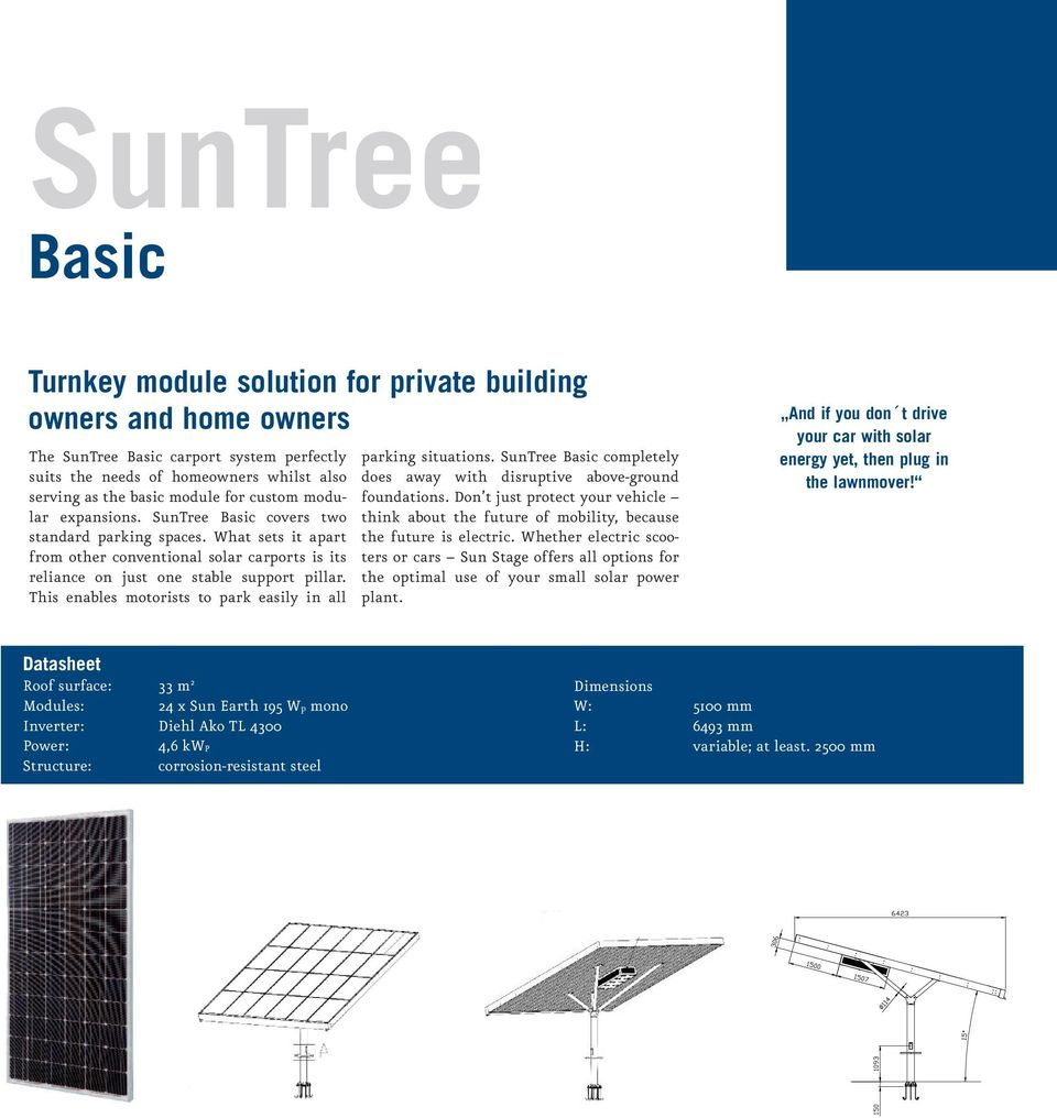 This enables motorists to park easily in all parking situations. SunTree Basic completely does away with disruptive above-ground foundations.