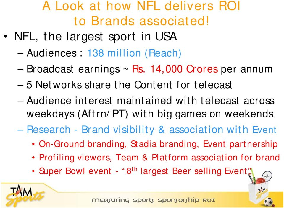 14,000 Crores per annum 5 Networks share the Content for telecast Audience interest maintained with telecast across weekdays