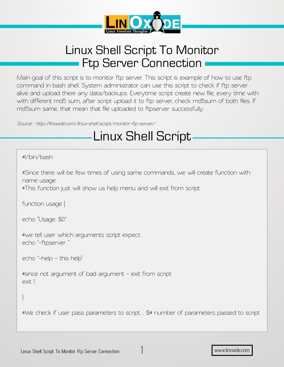 Linux Shell Script To Monitor Ftp Server Connection - PDF