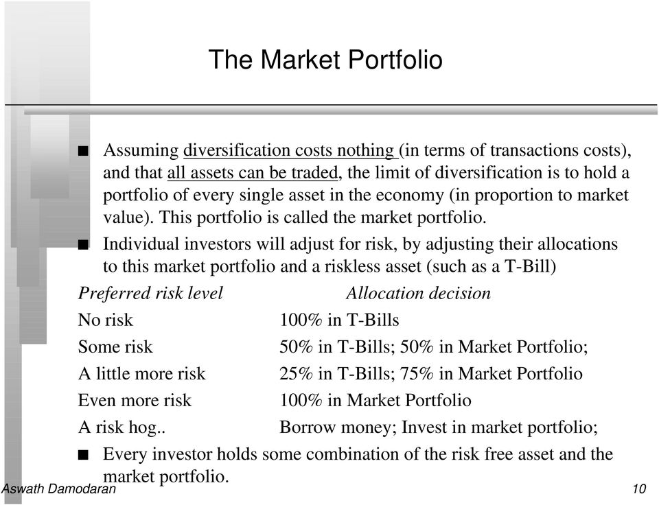 Individual investors will adjust for risk, by adjusting their allocations to this market portfolio and a riskless asset (such as a T-Bill) Preferred risk level No risk Some risk A little more risk