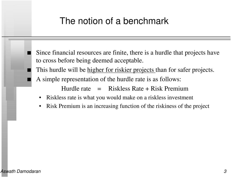 A simple representation of the hurdle rate is as follows: Hurdle rate = Riskless Rate + Risk Premium Riskless rate