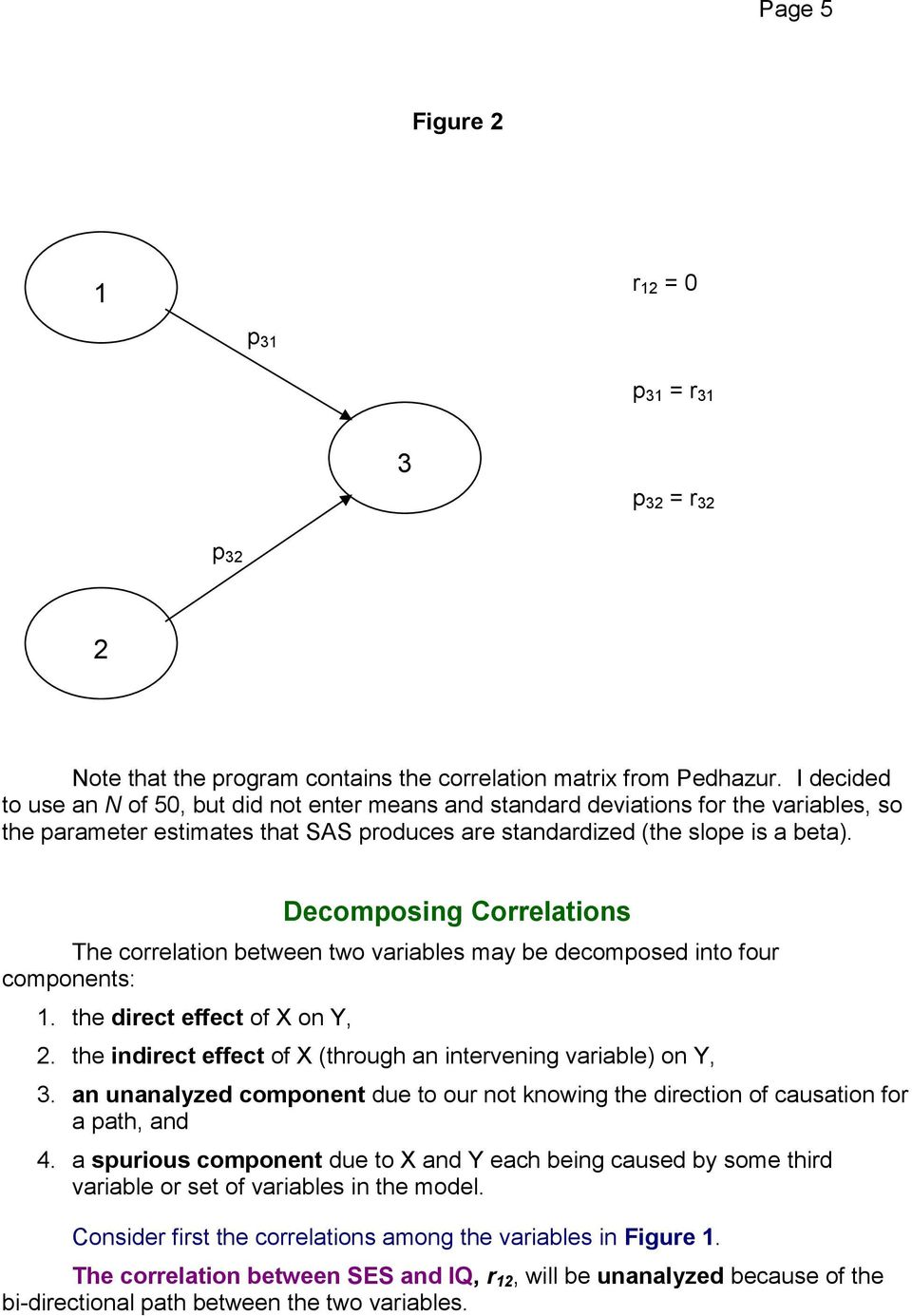 Decomposing Correlations The correlation between two variables may be decomposed into four components:. the direct effect of X on Y,.