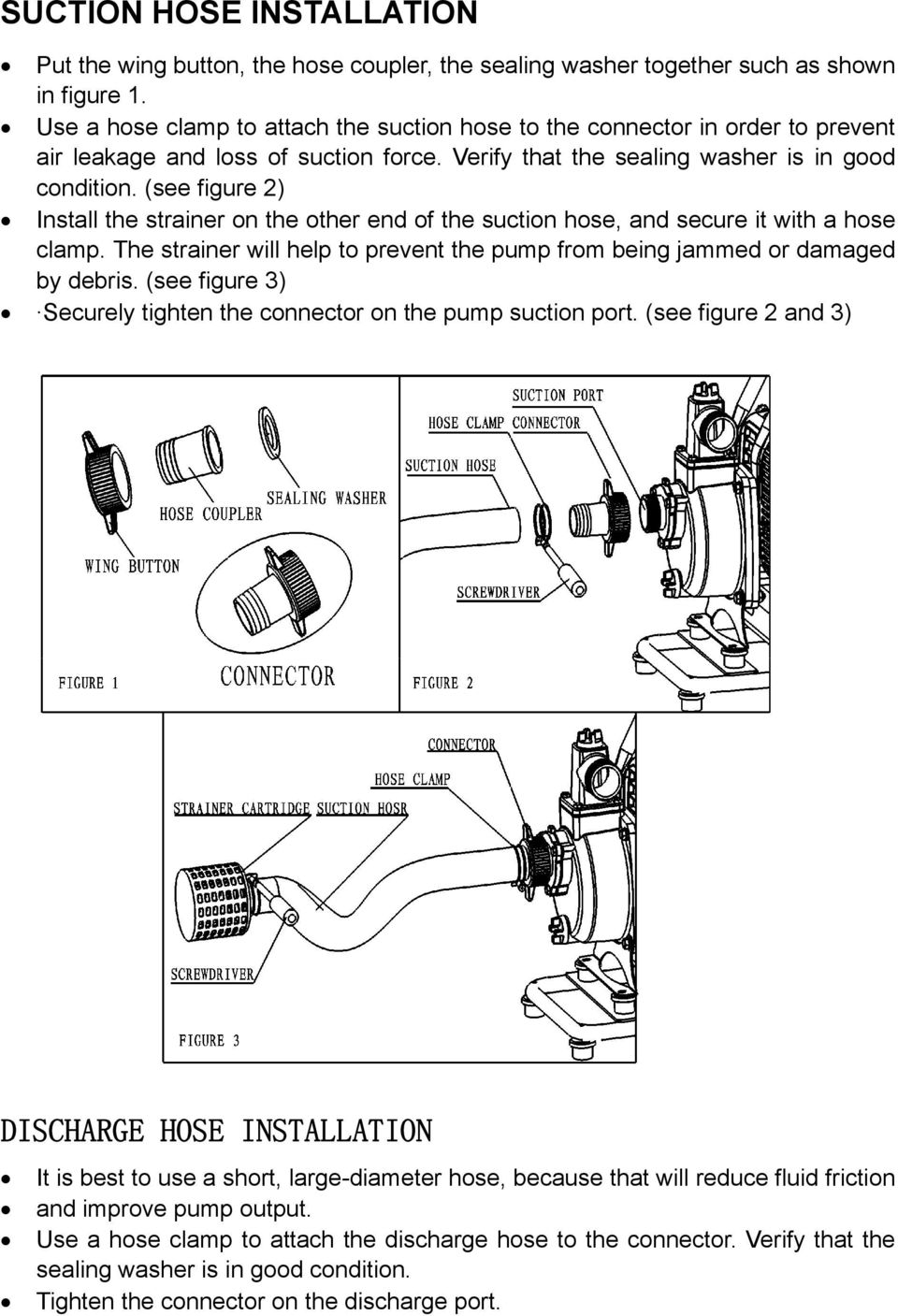 (see figure 2) Install the strainer on the other end of the suction hose, and secure it with a hose clamp. The strainer will help to prevent the pump from being jammed or damaged by debris.