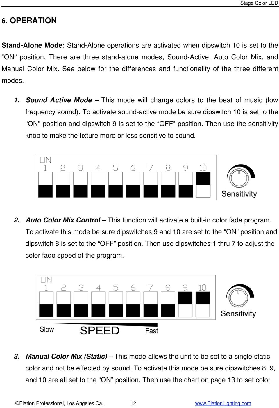 To activate sound-active mode be sure dipswitch 10 is set to the ON position and dipswitch 9 is set to the OFF position.
