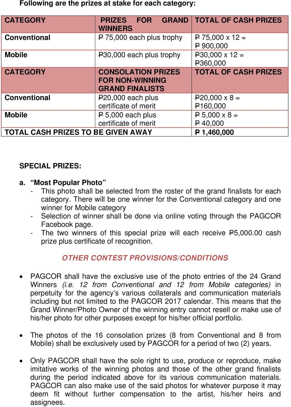 5,000 each plus certificate of merit P 5,000 x 8 = P 40,000 TOTAL CASH PRIZES TO BE GIVEN AWAY P 1,460,000 SPECIAL PRIZES: a.