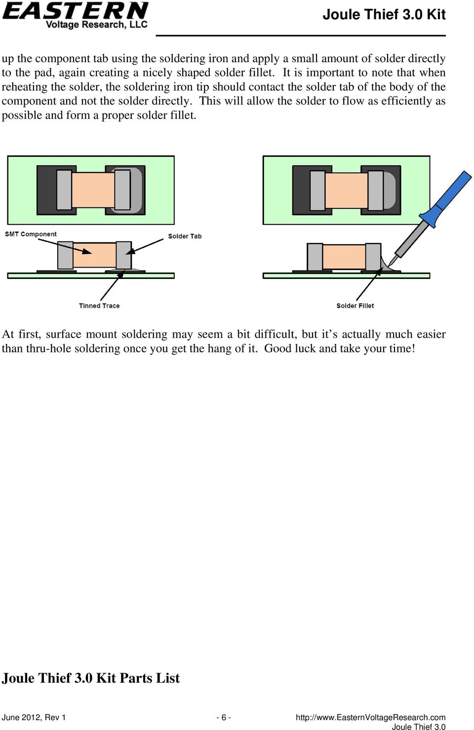 directly. This will allow the solder to flow as efficiently as possible and form a proper solder fillet.