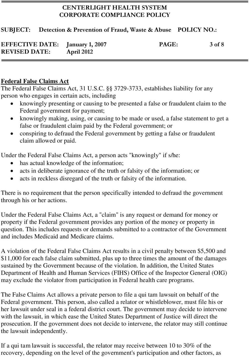 aims Act The Federal False Cl