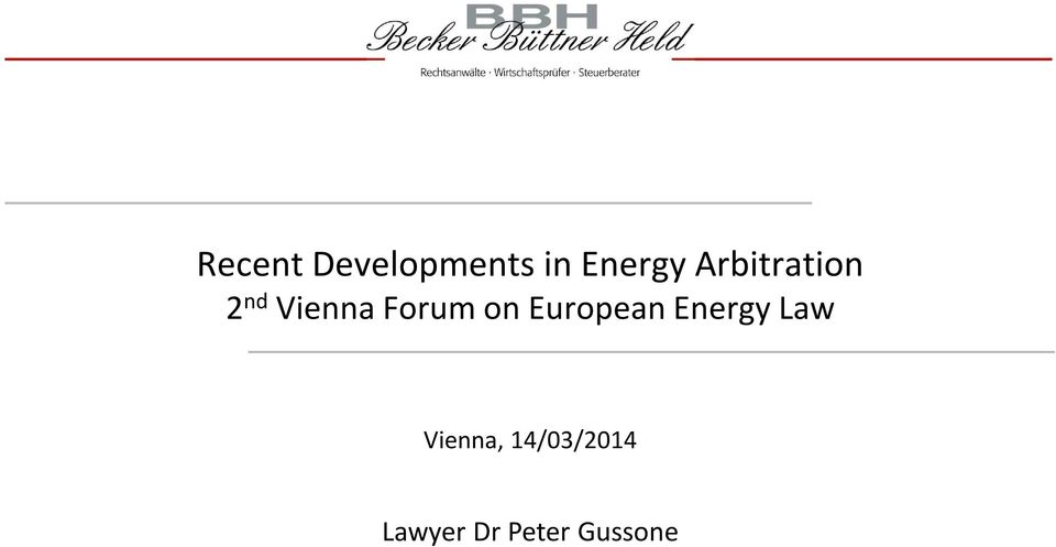 on European Energy Law Vienna,
