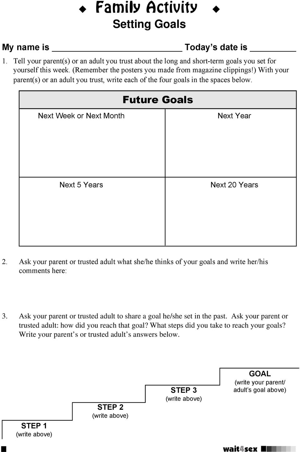 Future Goals Next Week or Next Month Next Year Next 5 Years Next 20 Years 2. Ask your parent or trusted adult what she/he thinks of your goals and write her/his comments here: 3.