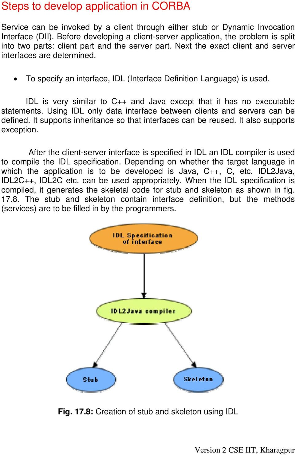 To specify an interface, IDL (Interface Definition Language) is used. IDL is very similar to C++ and Java except that it has no executable statements.