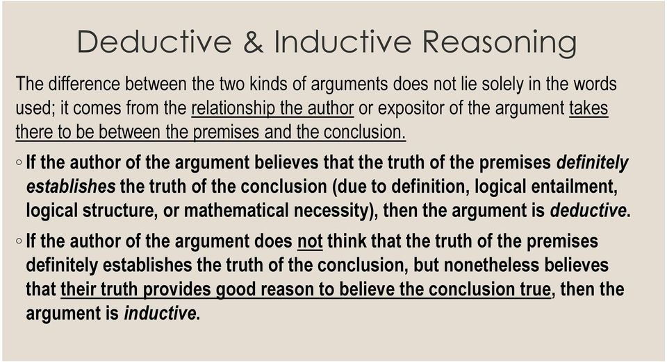 If the author of the argument believes that the truth of the premises definitely establishes the truth of the conclusion (due to definition, logical entailment, logical structure, or
