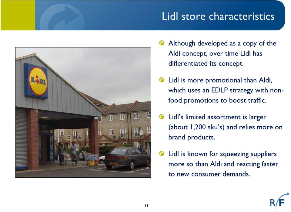 Lidl is more promotional than Aldi, which uses an EDLP strategy with nonfood promotions to boost traffic.