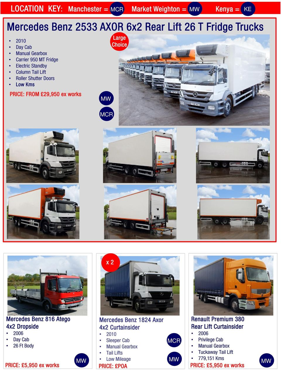 Mercedes Benz 816 Atego 4x2 Dropside 2006 Day Cab 26 Ft Body PRICE: 5,950 ex works Mercedes Benz 1824 Axor 4x2 Curtainsider