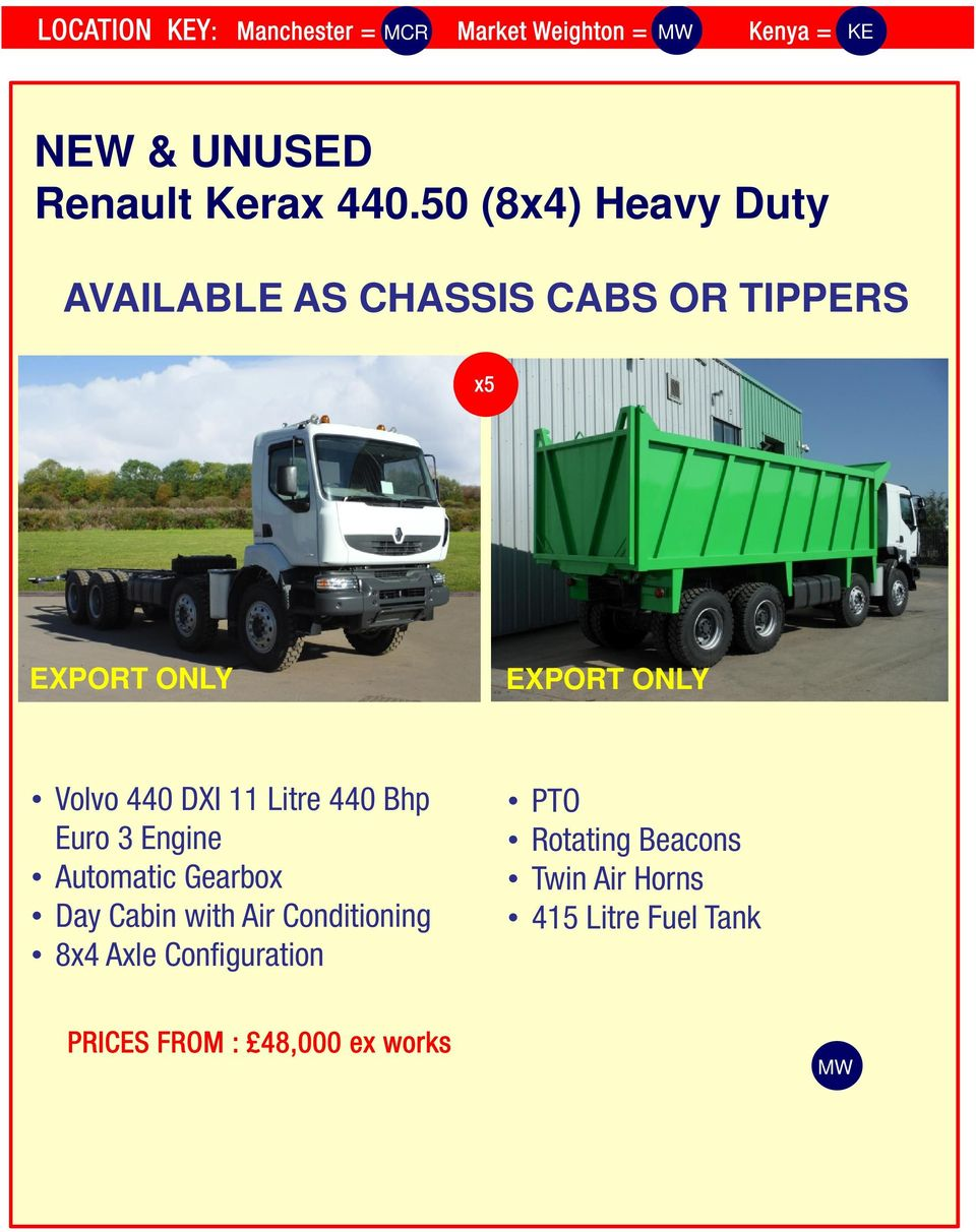 DXI 11 Litre 440 Bhp Euro 3 Engine Automatic Gearbox Day Cabin with Air Conditioning 8x4 Axle