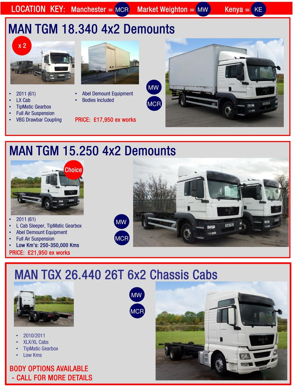 PRICE: 17,950 ex works MAN TGM 15.250 4x2 Demounts MAN TGM 15.