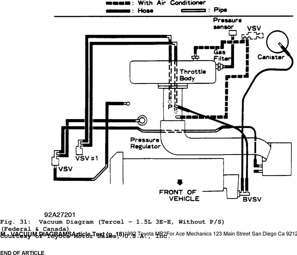 1992 engine performance toyota vacuum diagrams  camry