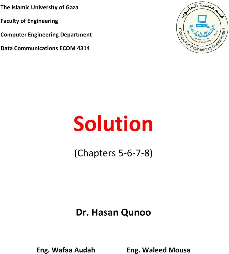 Communications ECOM 4314 Solution (Chapters