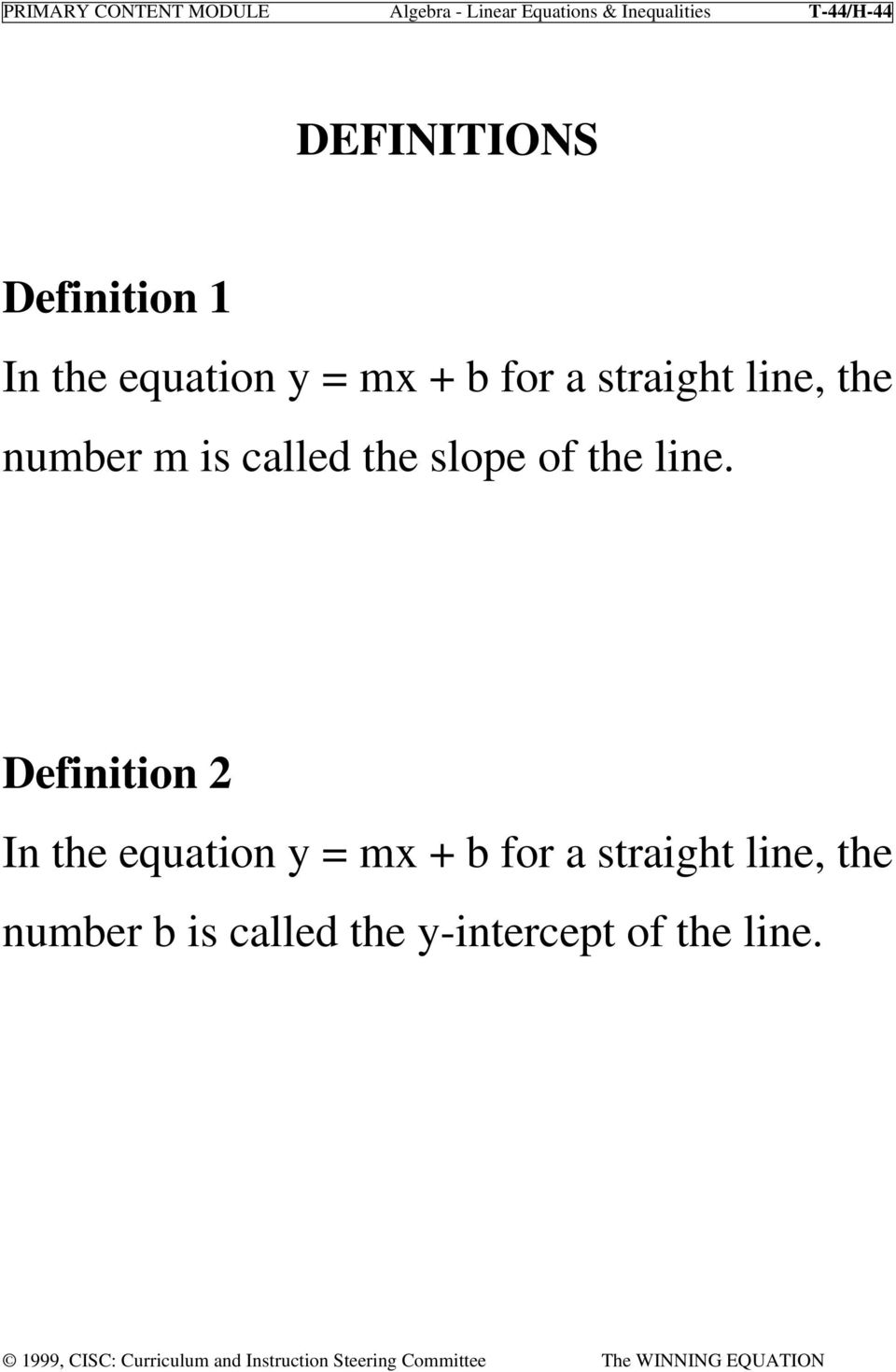 number m is called the slope of the line.