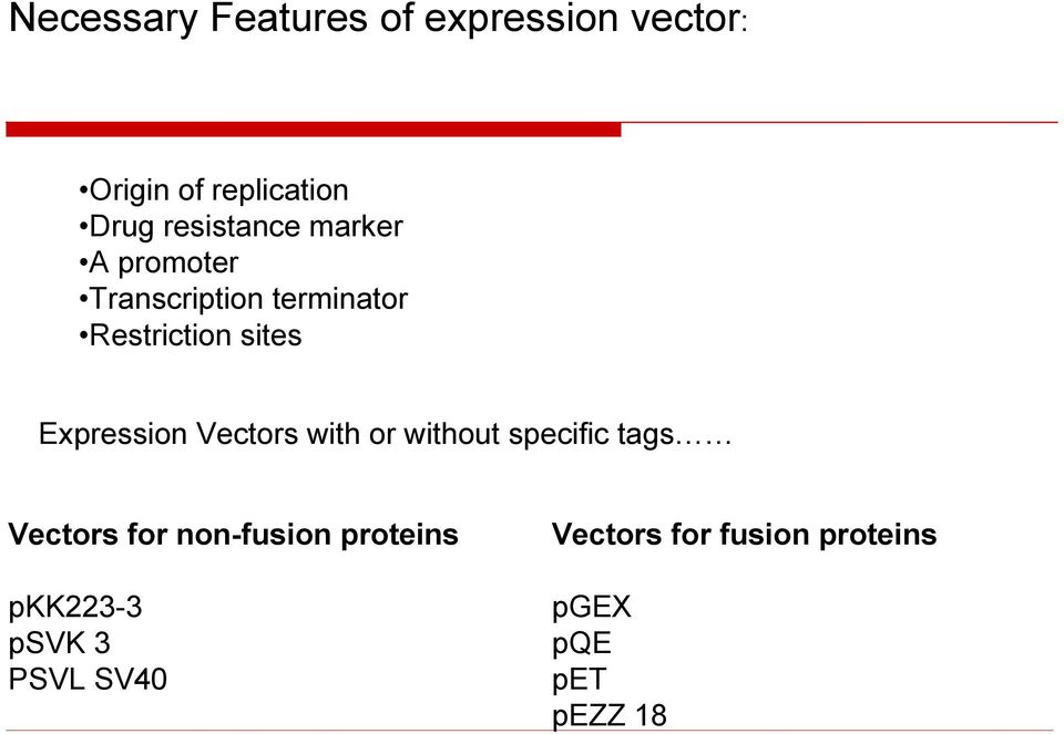 Expression Vectors with or without specific tags Vectors for non-fusion