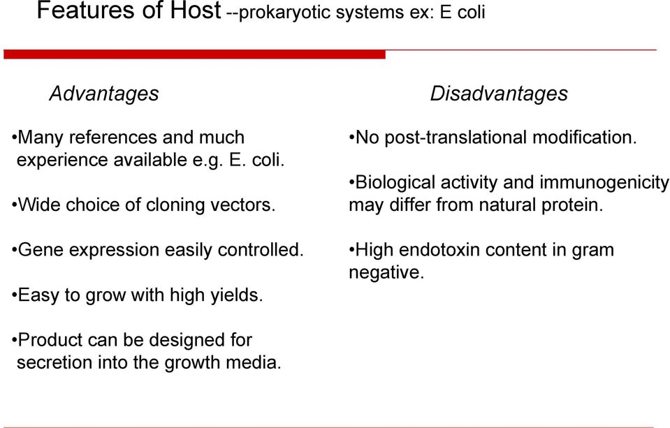 Disadvantages No post-translational modification.