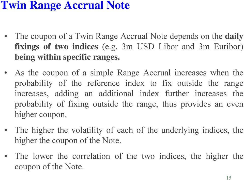 index further increases the probability of fixing outside the range, thus provides an even higher coupon.