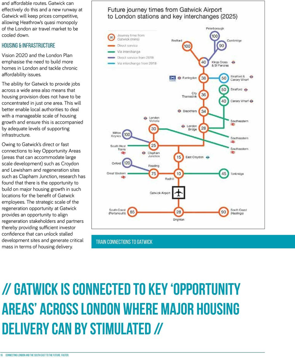 The ability for Gatwick to provide jobs across a wide area also means that housing provision does not have to be concentrated in just one area.