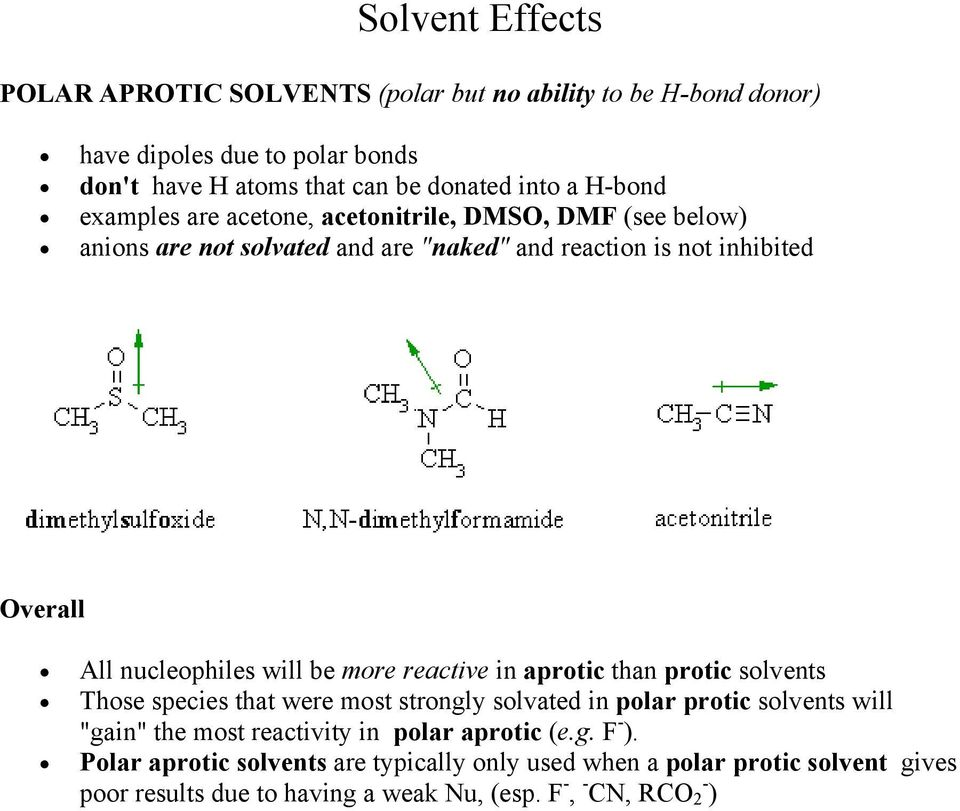 "will be more reactive in aprotic than protic solvents Those species that were most strongly solvated in polar protic solvents will ""gain"" the most reactivity in"