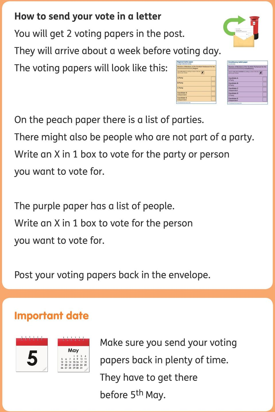Write an X in 1 box to vote for the party or person you want to vote for. The purple paper has a list of people.