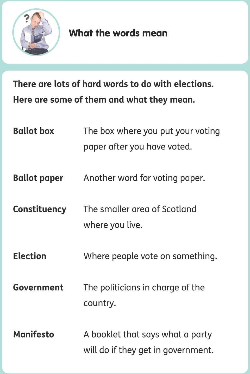 Ballot paper Another word for voting paper. Constituency The smaller area of Scotland where you live.