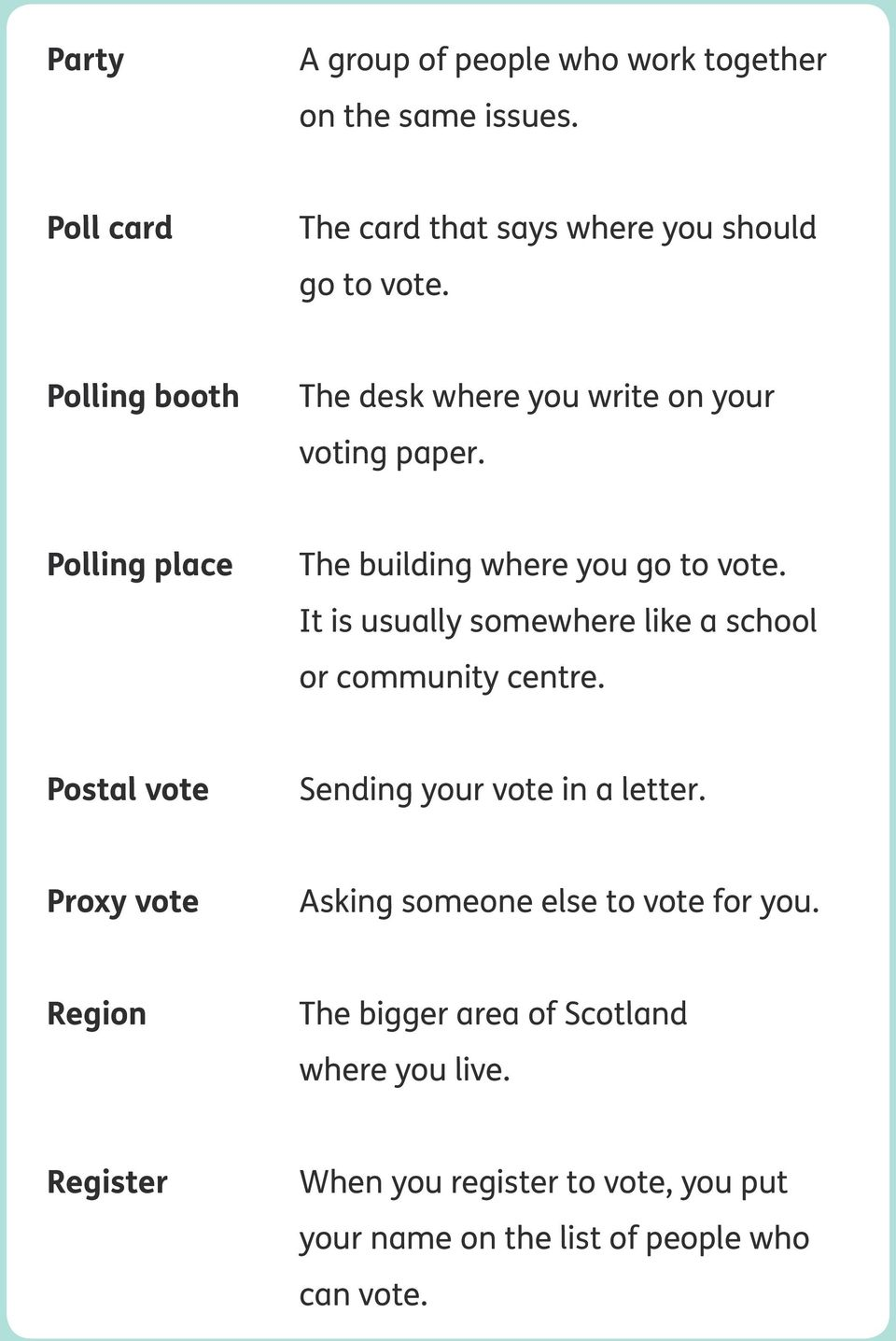 It is usually somewhere like a school or community centre. Postal vote Sending your vote in a letter.