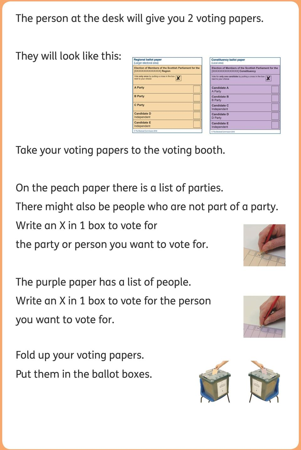 On the peach paper there is a list of parties. There might also be people who are not part of a party.