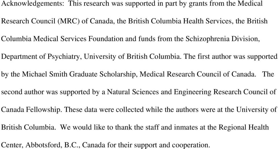 The first author was supported by the Michael Smith Graduate Scholarship, Medical Research Council of Canada.