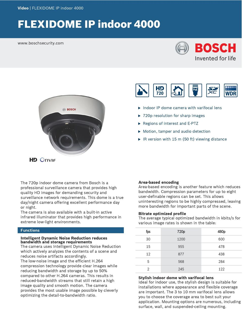 indoor dome camera from Bosch is a professional srveillance camera that provides high qality HD images for demanding secrity and srveillance network reqirements.