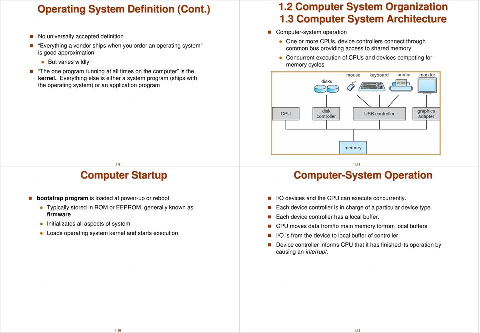 kernel. Everything else is either a system program (ships with the operating system) or an application program 1.2 Computer System Organization 1.