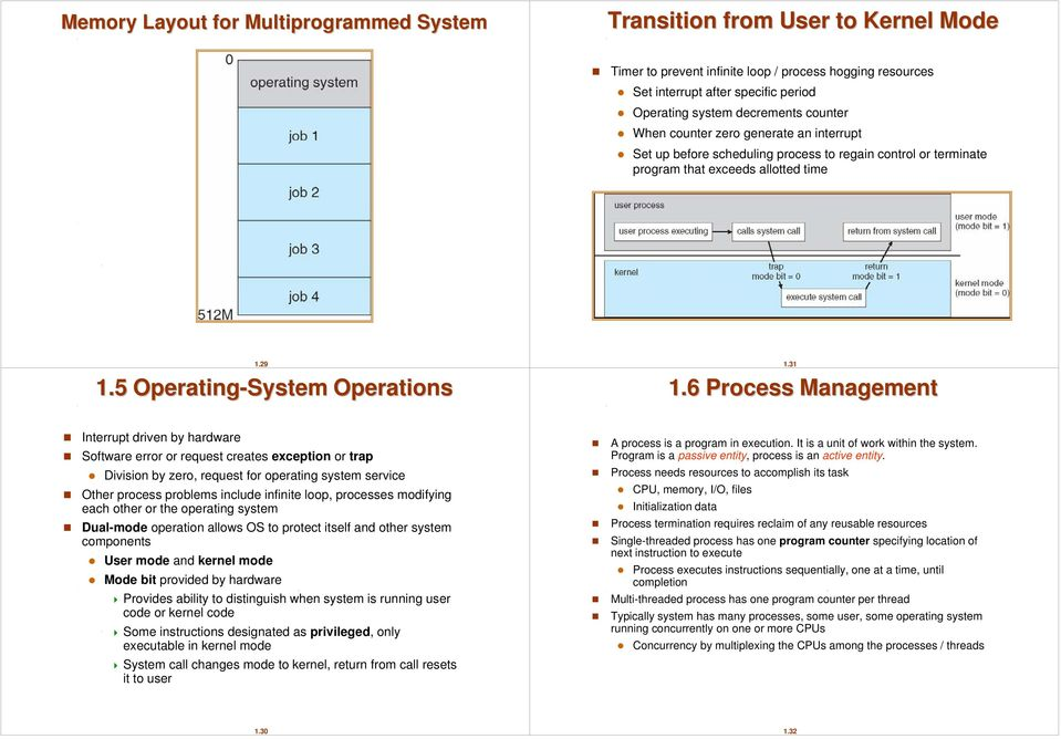 6 Process Management Interrupt driven by hardware Software error or request creates exception or trap Division by zero, request for operating system service Other process problems include infinite