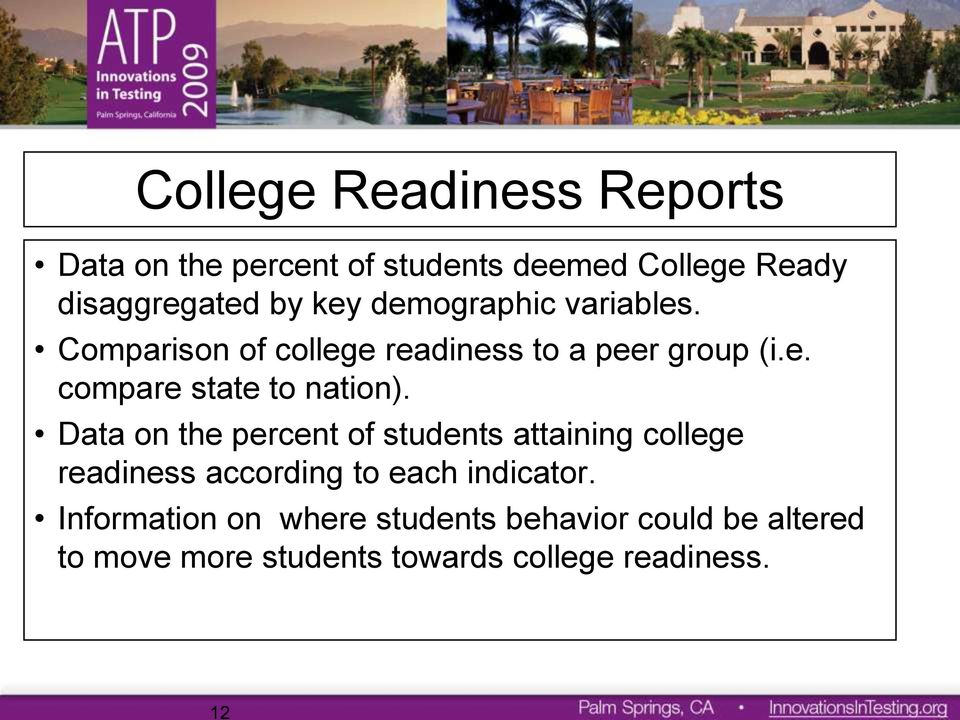 Data on the percent of students attaining college readiness according to each indicator.
