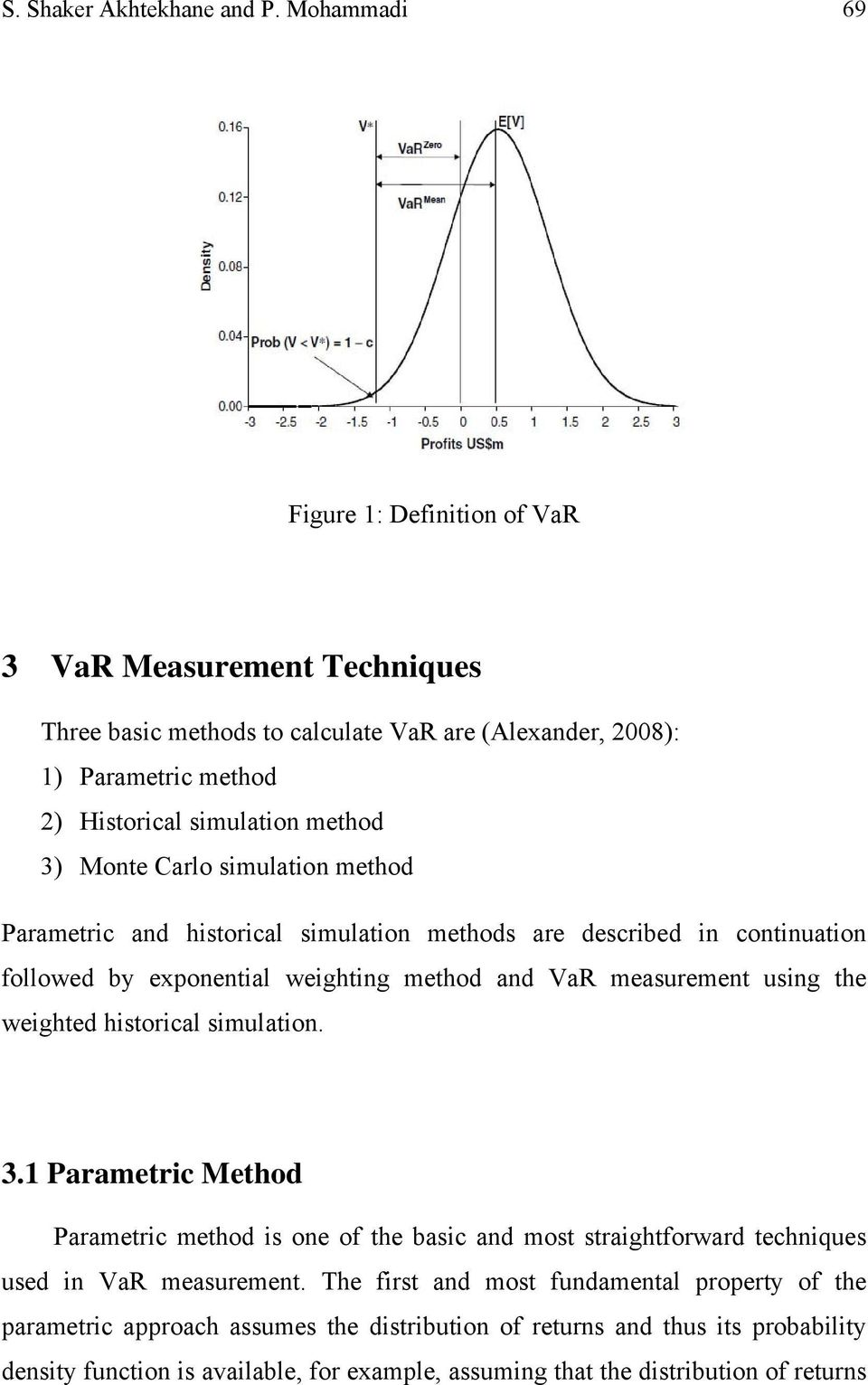 Monte Carlo simulation method Parametric and historical simulation methods are described in continuation followed by exponential weighting method and VaR measurement using the weighted