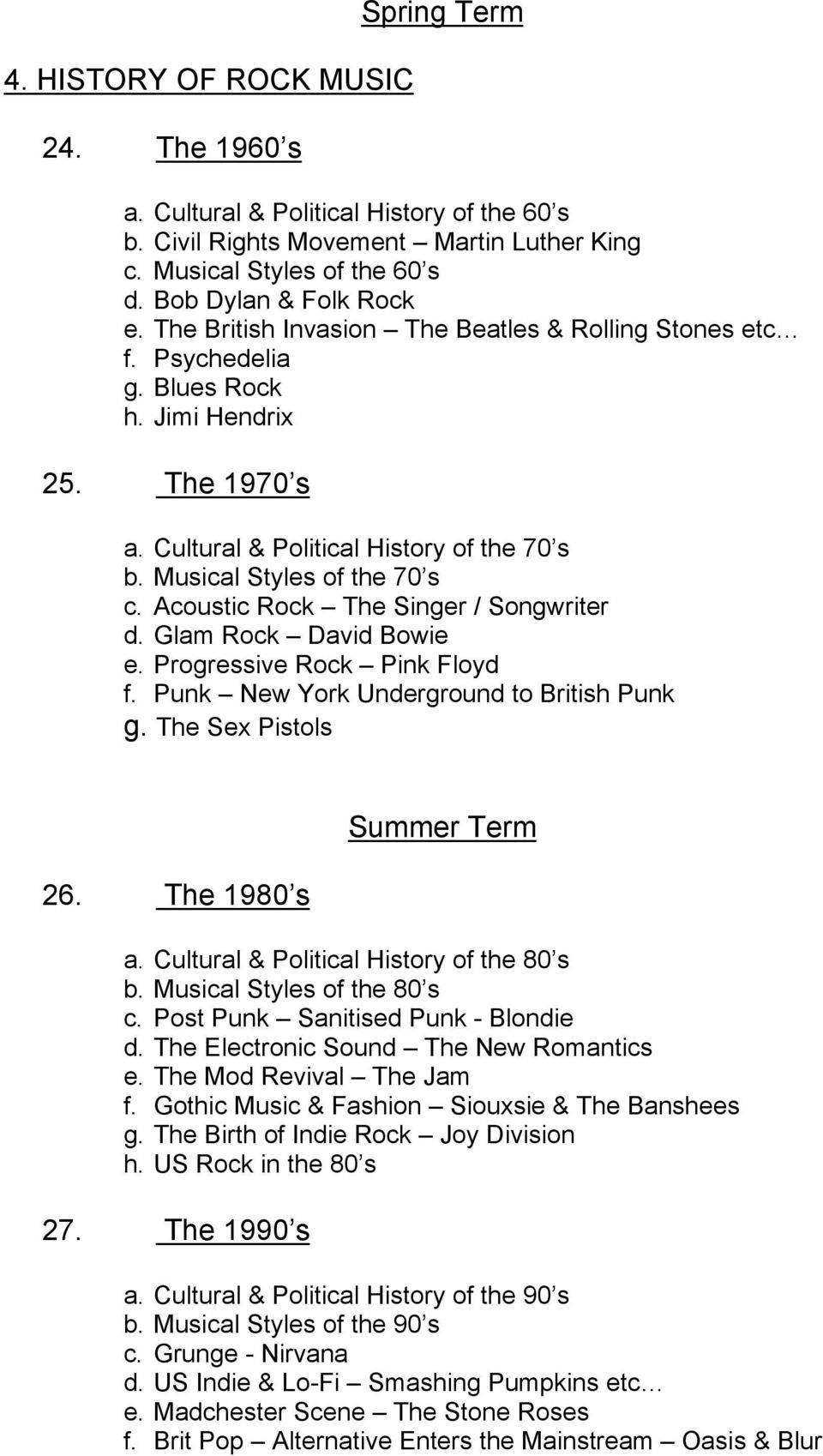 Acoustic Rock The Singer / Songwriter d. Glam Rock David Bowie e. Progressive Rock Pink Floyd f. Punk New York Underground to British Punk g. The Sex Pistols 26. The 1980 s Summer Term a.