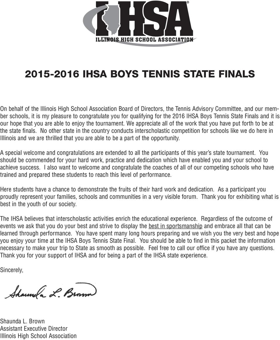 We appreciate all of the work that you have put forth to be at the state finals.