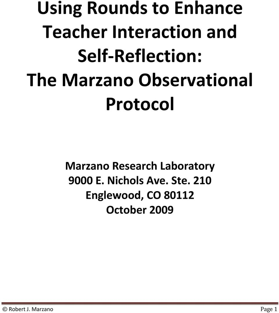 Marzano Research Laboratory 9000 E. Nichols Ave. Ste.