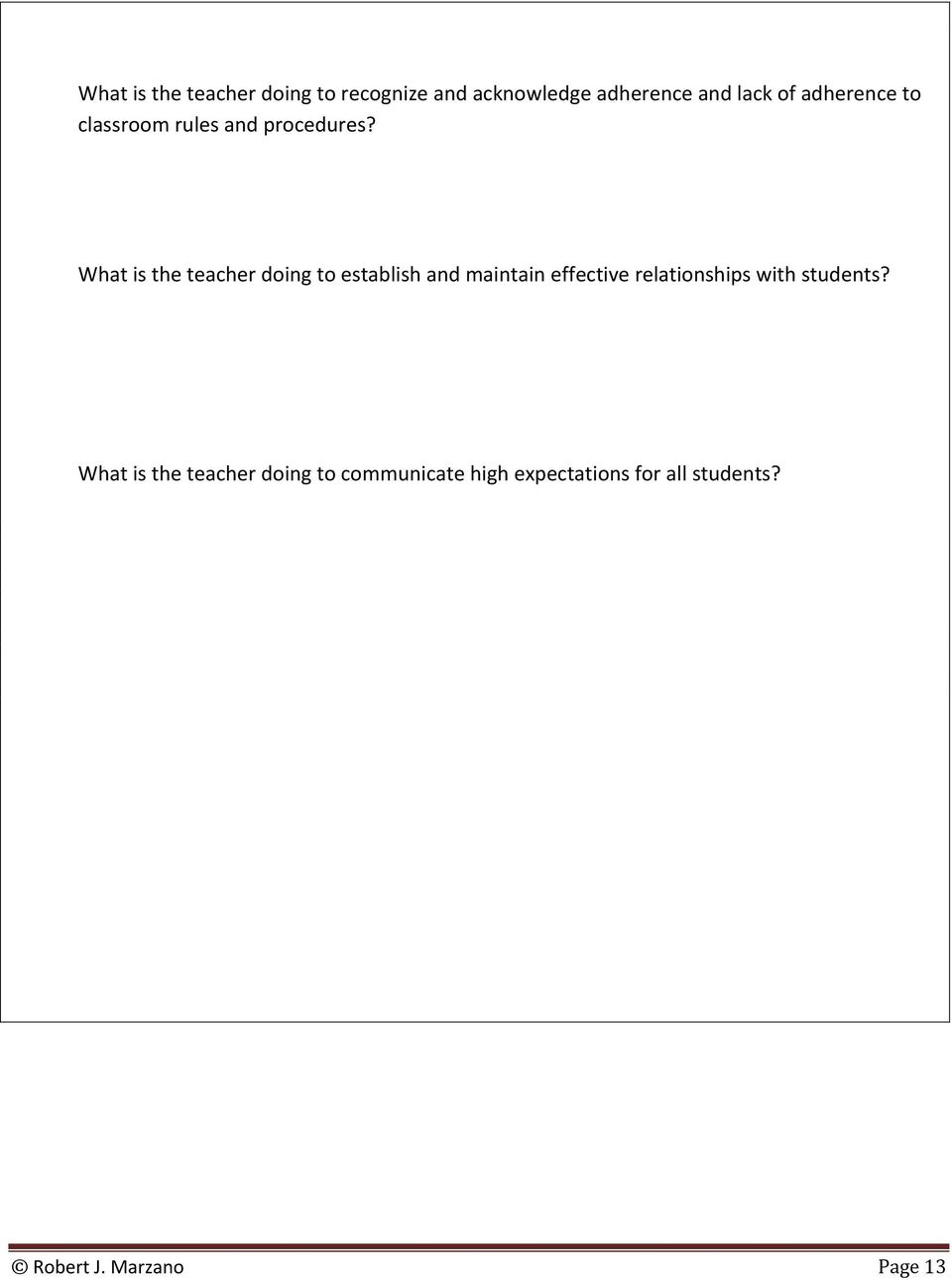 What is the teacher doing to establish and maintain effective relationships