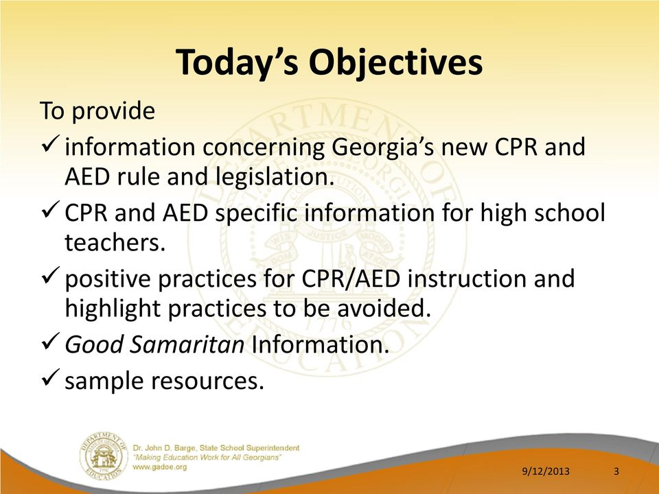 CPR and AED specific information for high school teachers.